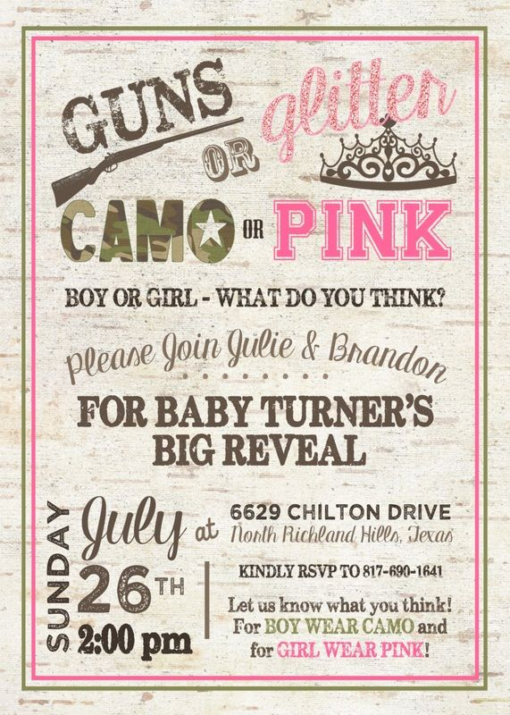 Gender Reveal Invitation - Guns or Glitter Gender Reveal - Camo or Pink Gender…