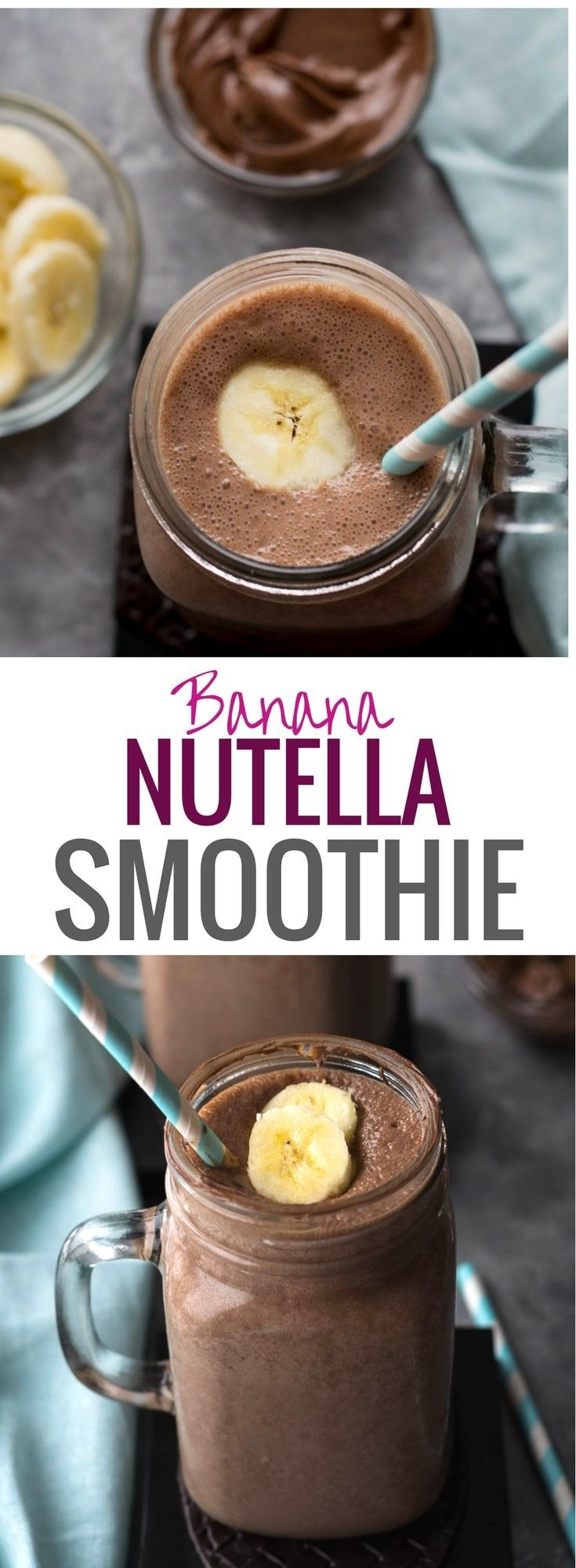 Banana Nutella Smoothie Recipe - Your kids will love this delicious Banana Nutella Smoothie Recipe - a healthy-ish drink made from bananas and milk with a hint of Nutella and hot cocoa. Make breakfast exciting for your family. #Nutella #Recipes #breakfast