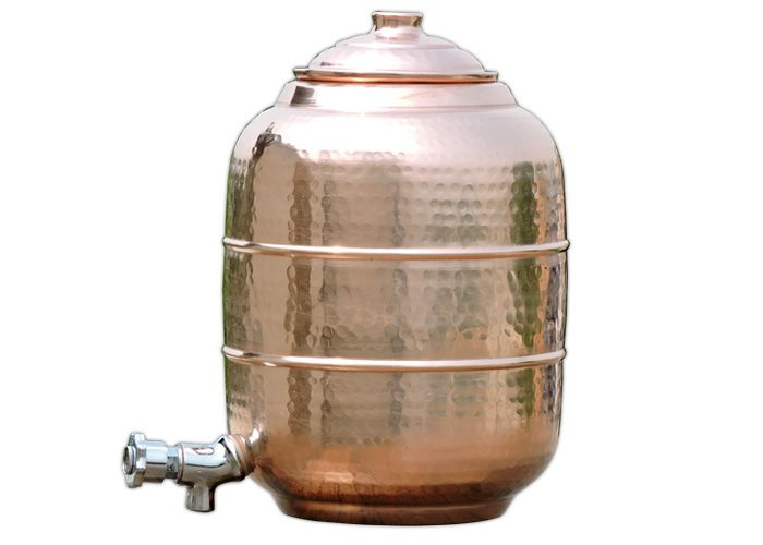 4 Gallons 15 Litre Portable Plain Pure Copper Water Tank Storage Matka Pot With Stainless Steel Tap Dispenser Stainless Steel Taps Pure Copper Water Dispenser
