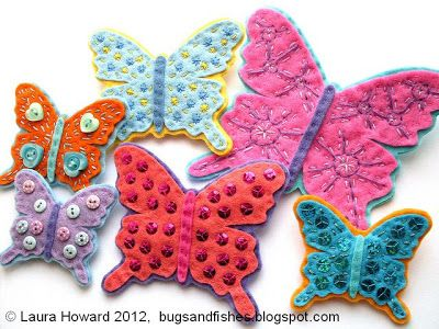 Bugs and Fishes by Lupin: How To: Felt Butterfly Brooches