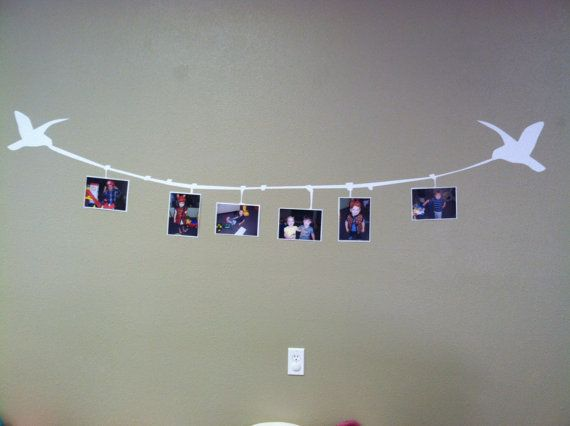 Birds with Clothesline Picture Frame Custom by WelcomingWalls (white, brown, or black)