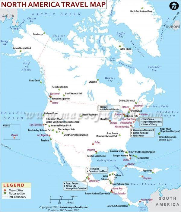 North America Travel Map North America Travel America North Travel Nordamerika Reisen Nordamerika Reisekarten