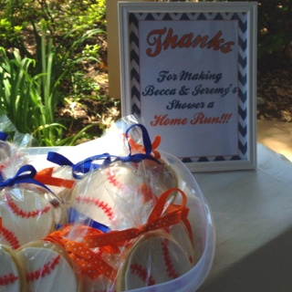 Home Run Giveaways for a co-Ed Baseball baby shower.