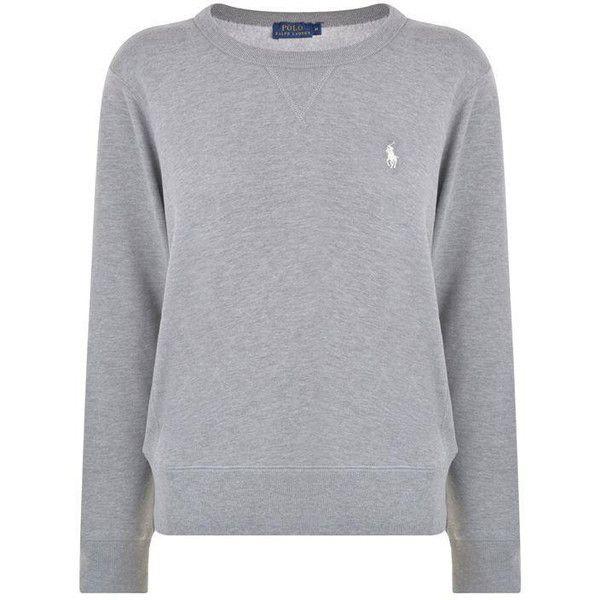 Polo Ralph Lauren Logo Crew Sweatshirt ($120) ❤ liked on Polyvore featuring tops,