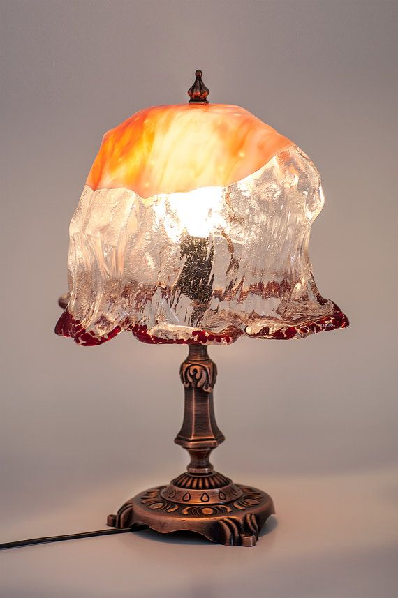 Art Glass Table Lamp, Unique Glass Table Lamp, Unusual Table Lamp, Table Top Art on Etsy, $250.00