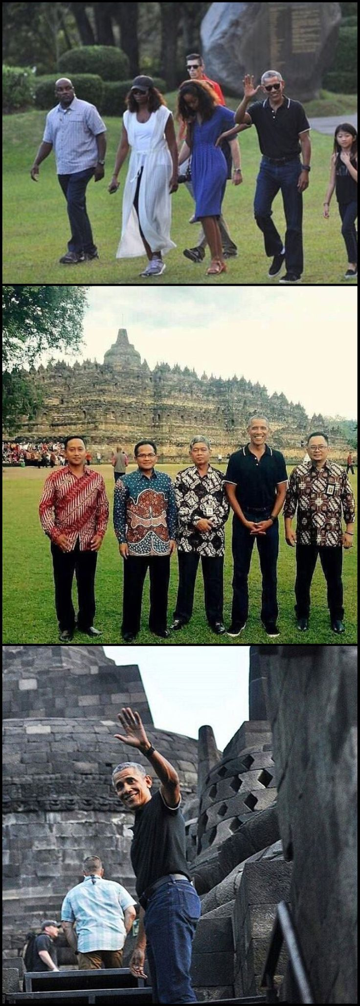 "#44thPresident #BarackObama spent his childhood in #Indonesia and learnt Javanese Culture from his step father Mr.Sutoro. It is respectful & polite for a man to put both his hands together,in front of his lower abdomen while standing. The gesture is called ""Ngapurancang&rdqu 6/28/17 #TheObamas on #Vacation �#ObamaFamily #ObamaGirls #ObamaLegacy #ObamaHistory #ObamaLibrary #ObamaFoundation Obama.org"