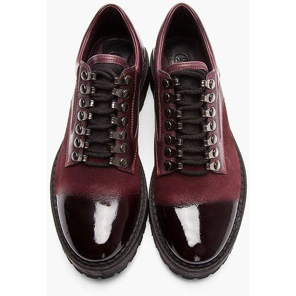 McQ | Red Oxblood Brushed Suede Polished Toe Shoes for Men ❤ liked on Polyvore featuring men's fashion, men's shoes, mens red suede shoes, mens suede shoes, mens oxblood shoes and mens red shoes