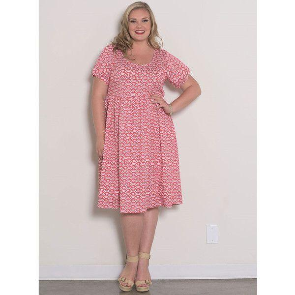 Plus Size Retro Style Pink Fan Harriet Swing Dress ($80) ❤ liked on Polyvore