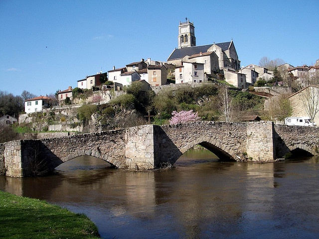 13th Century Stone-Arched Bridge at Bellac, France