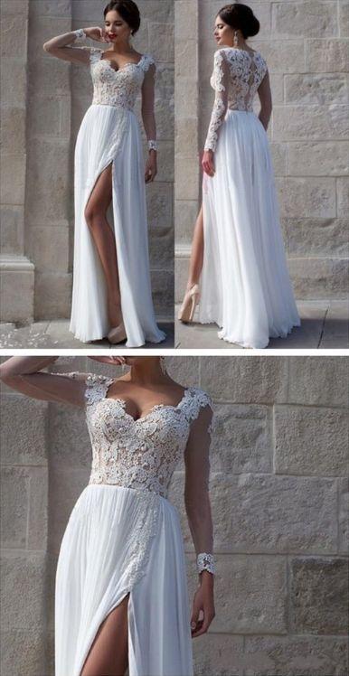 White Prom Dresses, Long Prom Dresses, Side Slit Prom Dresses,Elegant Prom Dresses,Custom Prom Dresses,