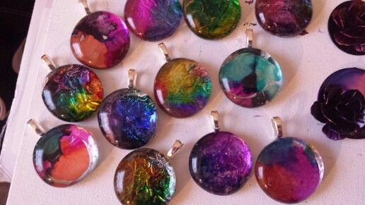 Alcohol ink painted pendants