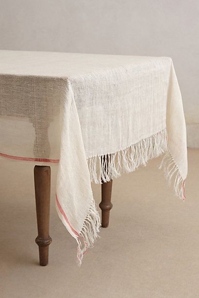 Coral Stripe Tablecloth  #anthropologie