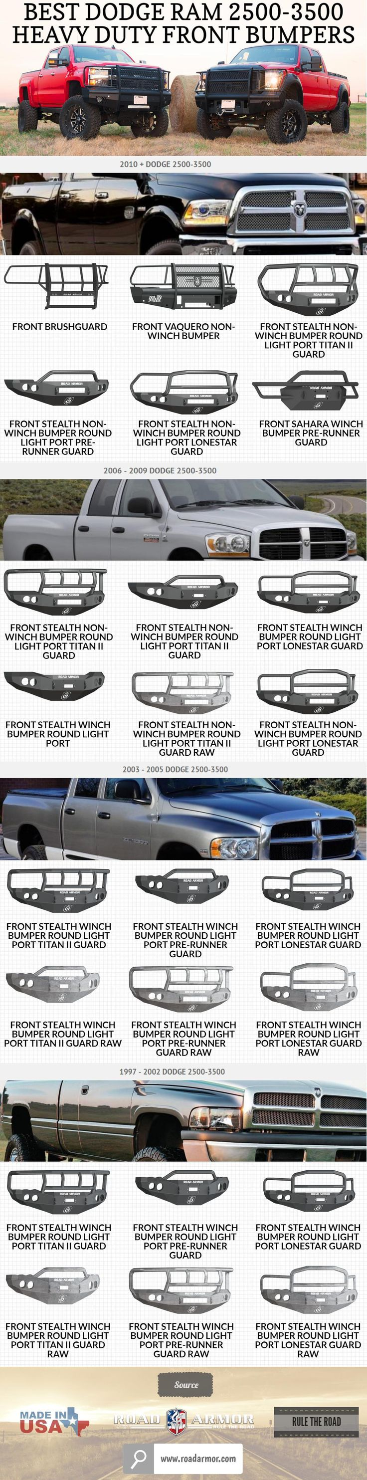 Best Dodge Ram 2500-3500 Heavy Duty Front Bumpers... For more details and shop online at: https://www.roadarmor.com/dodge-2500-3500-bumper