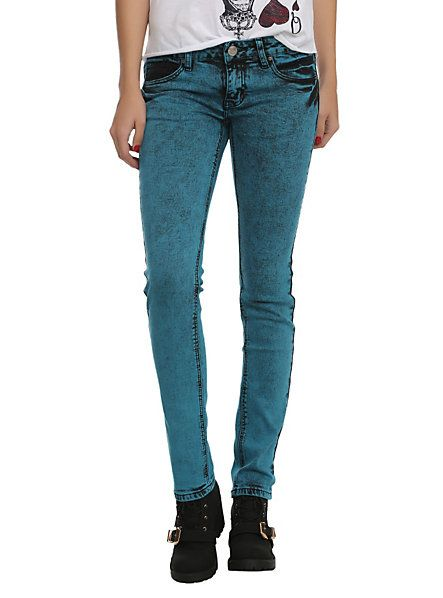 Puzzle Turquoise Wash Skinny Jeans | Hot Topic