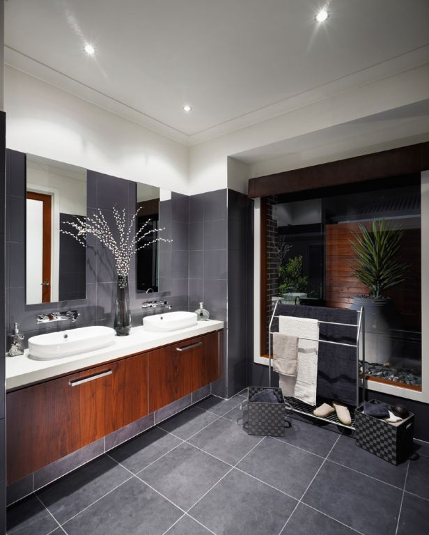Bathroom Tiles - STRATOS NERO NATURAL (300X300)  MAXFL1036   Info: Floor and wall tiles  Grout: Gunmetal Grey