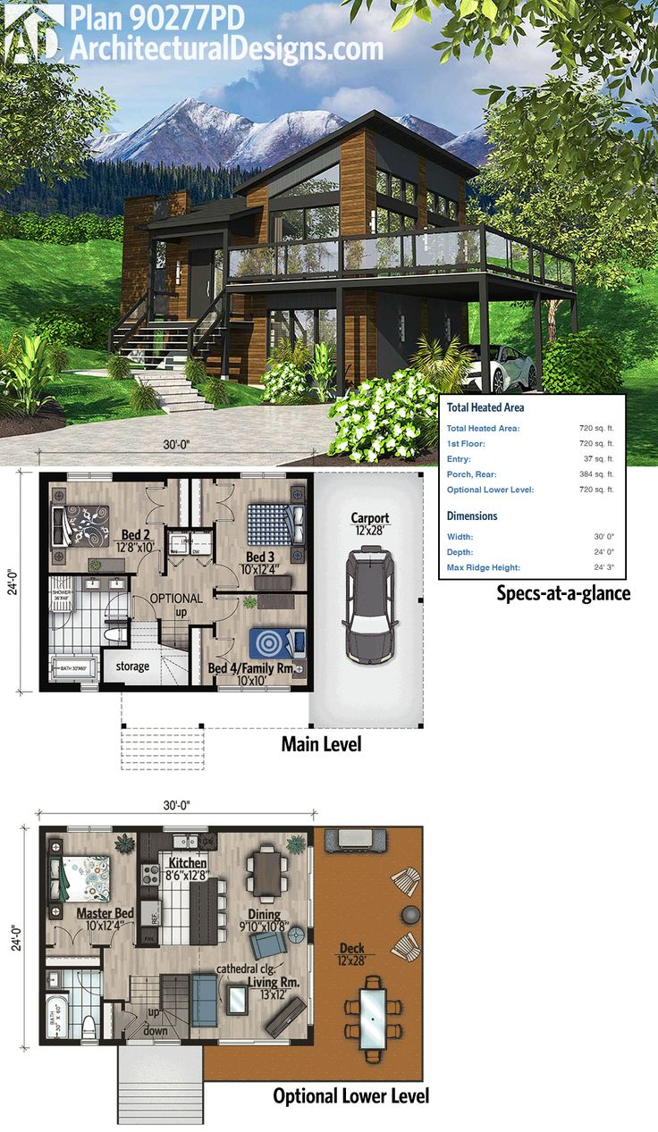 Plan 90277pd exciting contemporary house plan grundrissemoderne haus plänemodernes