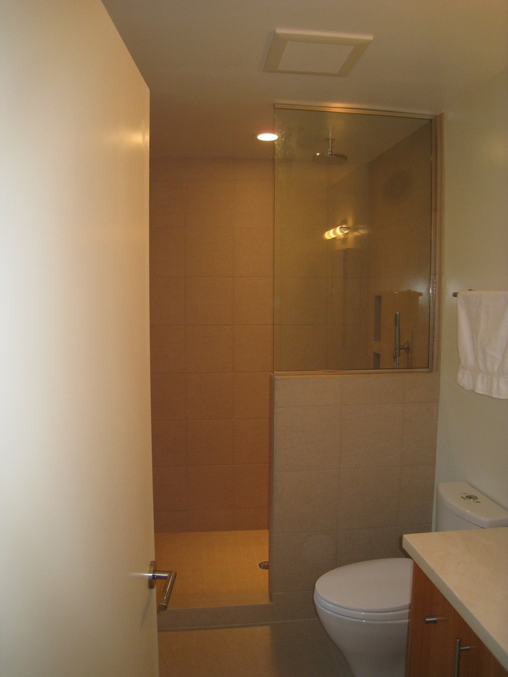 Walk in shower with a half wall and glass home garden for Half wall shower glass
