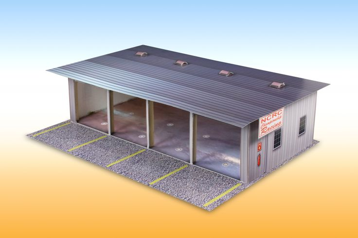 """4-Stall Pit Garage"" Photo Real Scale Building Kit is a complete scale model #racetrack multi-stall pit #garage that comes ready to trim and assemble. Based on the use of real #building materials photographed and printed, Each Scale Building Kit looks amazingly realistic! #modelbuilding #slotcar #hobby #DIY"