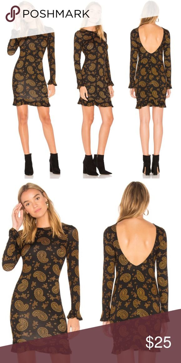 REVOLVE CLAYTON NOVELLA ROYALE STYLE DRESS SHOPBOP Super sexy super stretchy paisley mini dress from Clayton. Looks and feels like Novella ROYALE...Clayton is an indie label sold at Revolve, SHOPBOP, etc. They're one of my favorite newer labels. Low scoop back, long sleeves with ruffle cuffs, BODYCON fit with ruffled hem. This is an XS but better fits a small...It's so stretchy a small medium (4/6) will also work. Deep black with mustard paisley pattern. New without tags from our showroom! ✨…