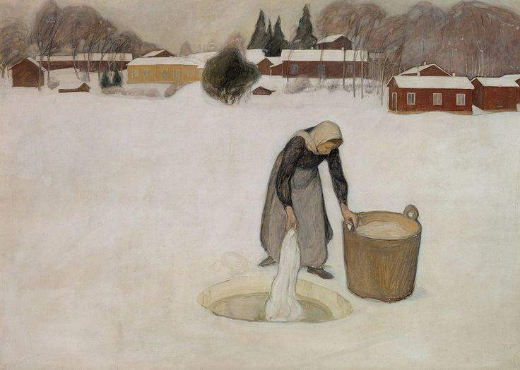 Washing on the Ice, 1900 (oil on canvas) by Finnish painter Pekka Halonen, (b.1865 - d.1933). In the collection of the Ateneum Art Museum, Finnish National Gallery, Helsinki, Finland (fr commons.wikimedia.org)