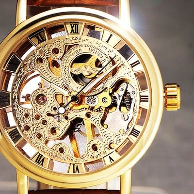 Skeleton Mechanical Men´s Watch Luxury Branded Business Leather Strap Classic Gold
