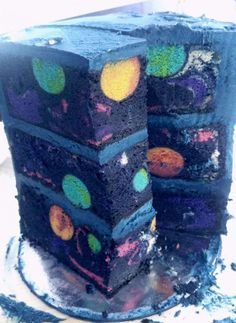 Pedagiggle made a birthday cake for four-year-old Ilyas with a space theme. She wanted to convey the idea of outer space inside the cake as well as the decorated outside, so she created a solar system for the interior. According to the posted instructions, she made the planets by baking cake pop orbs first, then she embedded them in a marble cake with the appropriate food coloring. She also made rocket cookies and Star Wars cookies. That had to be some birthday party! -via reddit...