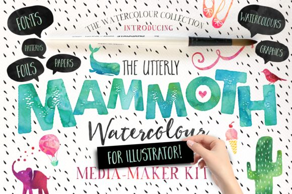 MAMMOTH Watercolour Media-Maker Kit......FOR ILLUSTRATOR! - an utterly HUMUNGOUS collection of all-new vector graphics, fonts, watercolours, foils, patterns, papers, splatters and.....design secrets! by Nicky Laatz