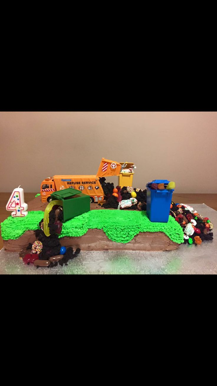 Garbage truck themed birthday cake made for my little man's 4th Birthday xxx