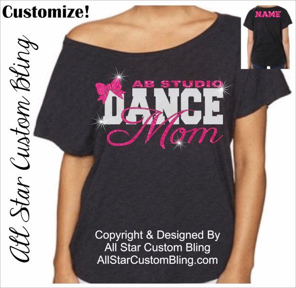 Custom Dance Mom Off Shoulder shirt, dance mom bling shirt, personalized dance mom shirt, shirts for dance moms