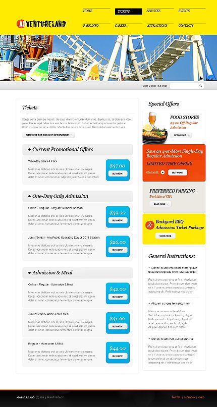 Adventureland Amusement Website Templates by Nessy