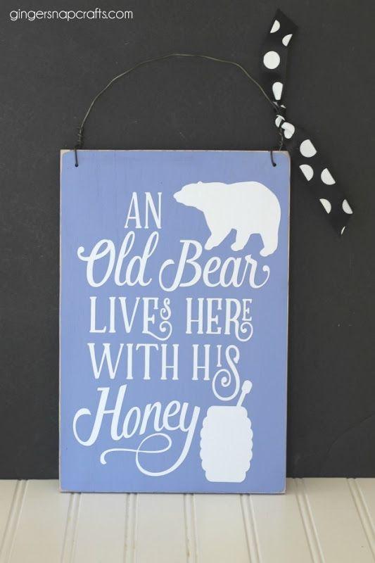 DIY Old Bear Sign at GingerSnapCrafts.com