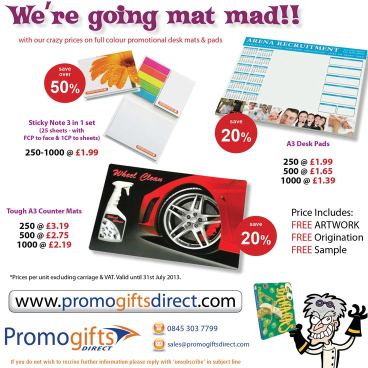 Up to 50% off on our Promotional Mats & Pads. Send your artwork requirements Sales@promogiftsdirect.com