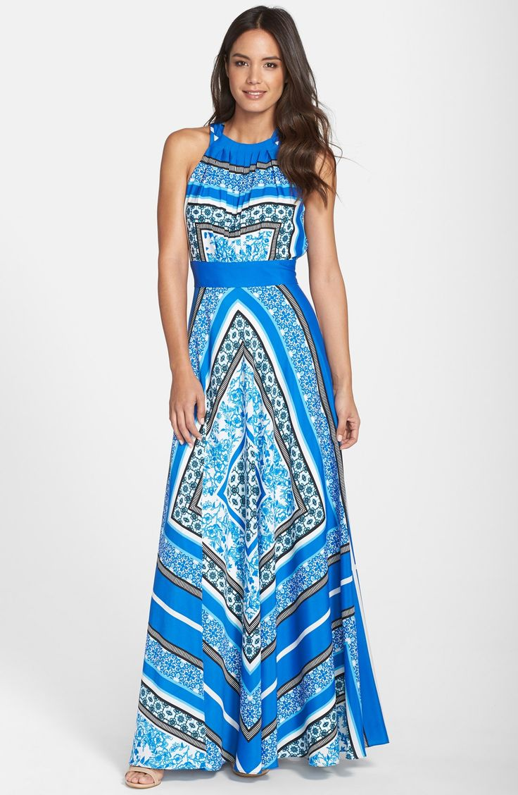 Free shipping and returns on Eliza J Scarf Print Halter Crêpe de Chine Maxi Dress (Regular & Petite) at Nordstrom.com. A boho-inspired scarf print brightens this flowy A-line maxi featuring a cutaway bodice and a figure-flattering inset waistband. On the reverse, the neckline ties into a lovely cascading bow for an elegant finish.