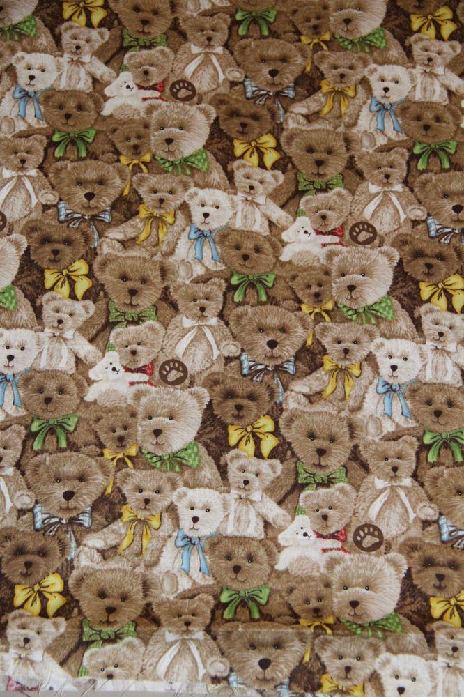Boyd S Bear All Over Teddy Bear 100 Cotton Fabric By