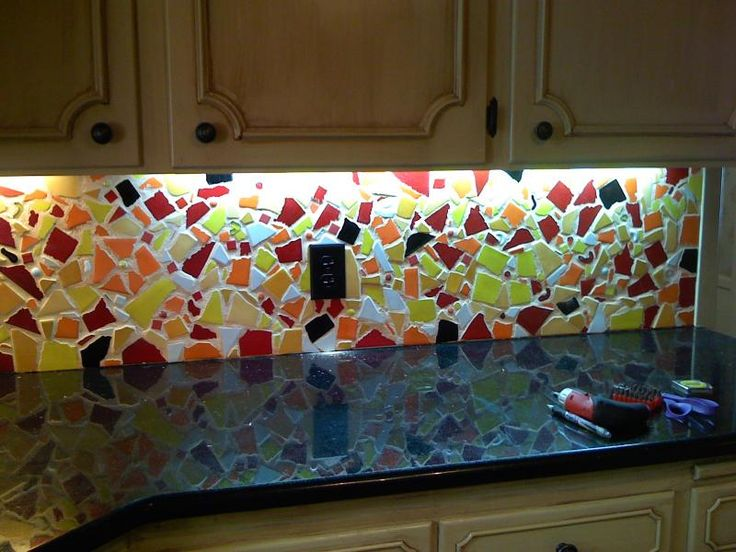 The idea of a broken tile backsplash (not these colors) is appealing more  and - 11 Best Images About Backsplash Ideas On Pinterest Stove