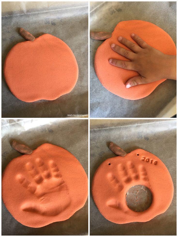 Pumpkin handprint activity for kids and keepsake