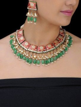 Red Meenakari Pachi Necklace with a Pair of Earrings (Set of 2)