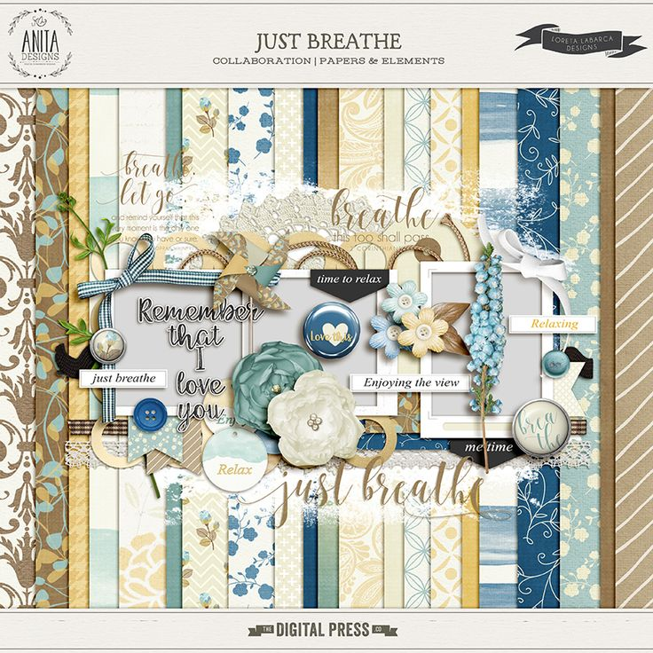 Quality DigiScrap Freebies: Just Breathe full kit freebie from Anita Designs and Loreta Labarca Designs