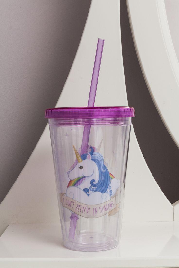 Plastová termosklenice s dvoujtou stěnou a krásným motivem Jednorožce #jednorozec #bottle #unicorn #giftideas