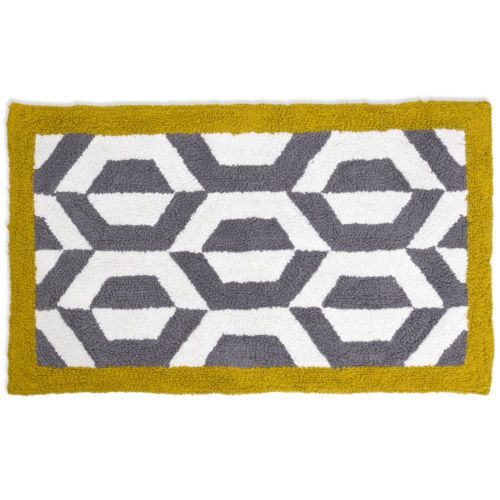 "Jonathan Gio Ponti Bath Rug - Grey & Yellow 21"" x 34"" | eBay"