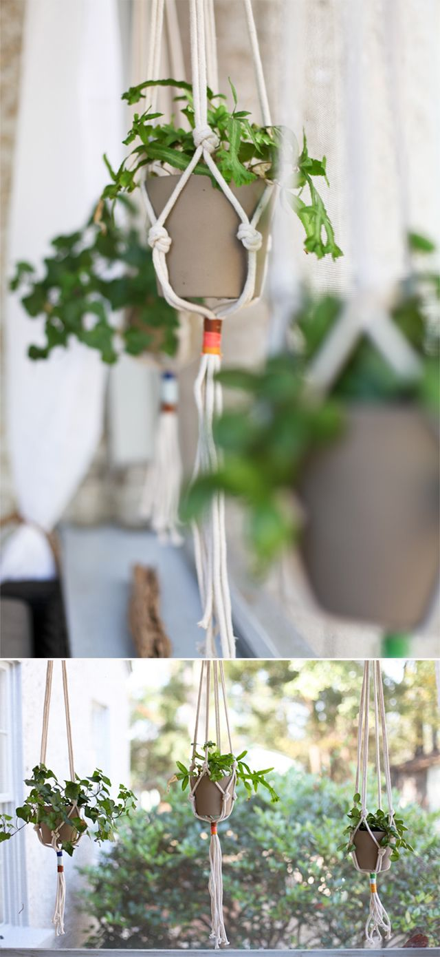 Maybe this is how to get some green in my home with 2 small children.... hello there home: diy hanging planters