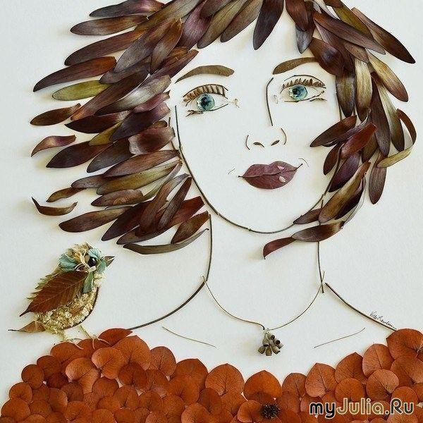 Как вам шедевры из листьев?Я считаю красиво!: Дневник пользователя evgesha lomakina: Дневники - женская социальная сеть myJulia.ru