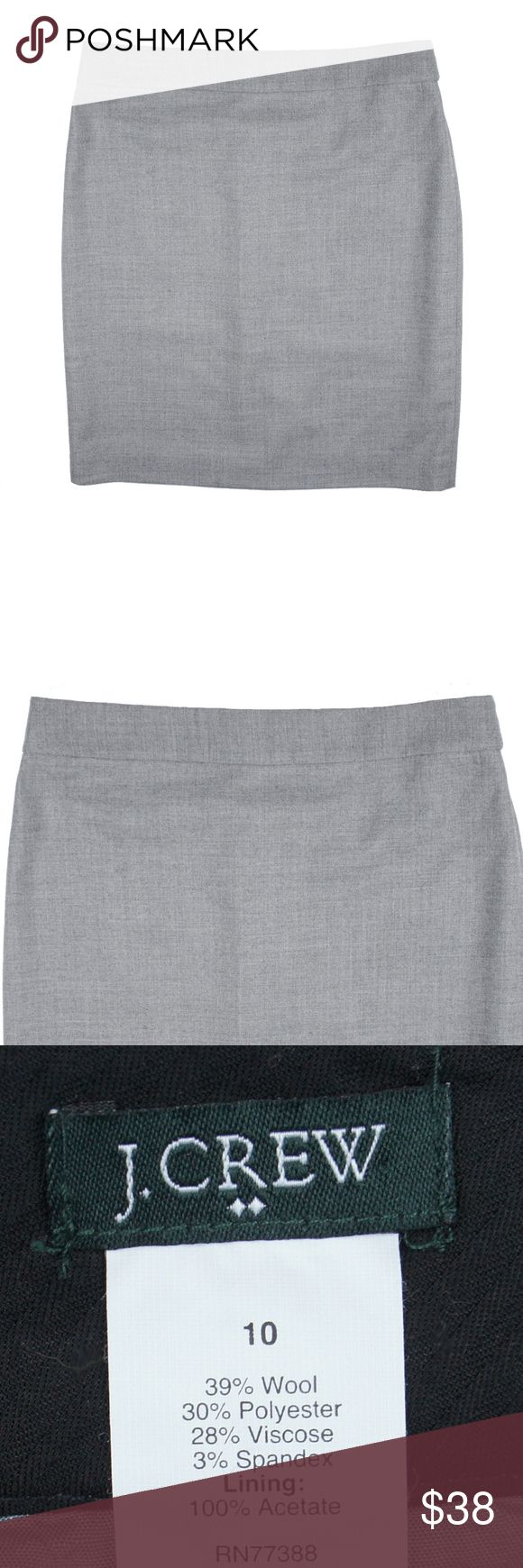 """JCREW Gray Pencil Skirt in Wool Flannel Size -  10  This gray pencil skirt in wool flannel is in excellent condition. It features:      Wool/poly/viscose with a hint of stretch.     Sits at waist.     21 1/2"""" long.     Back zip.     Back welt pockets.     Back vent.     Lined.     Dry clean.     Import.  Measures:      Waist: 33""""     Hips: 41""""     Total Length: 21.5"""" J. Crew Skirts Pencil"""