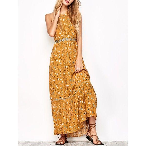 Halter Maxi Tiny Floral Beach Dress ($27) ❤ liked on Polyvore featuring dresses, maxi dresses, halter neck maxi dress, halter-neck dress, halter dress and beach maxi dress