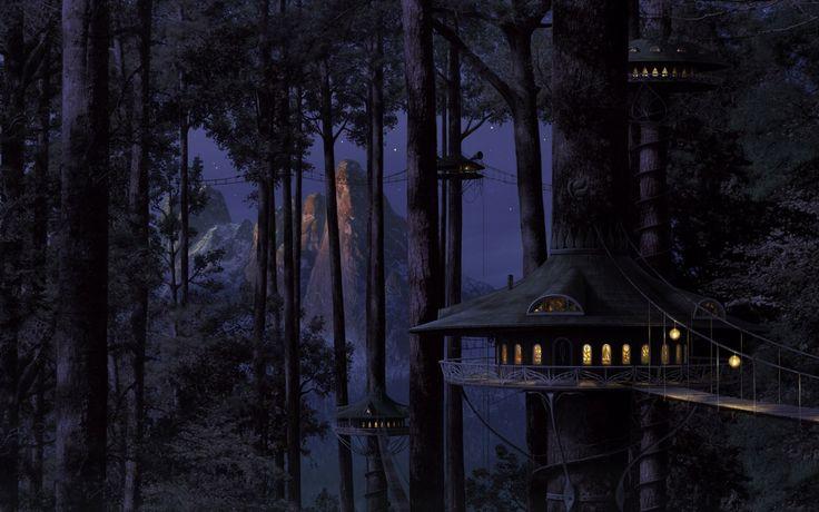 1680x1050 Wallpaper house, tree, light, wood, night