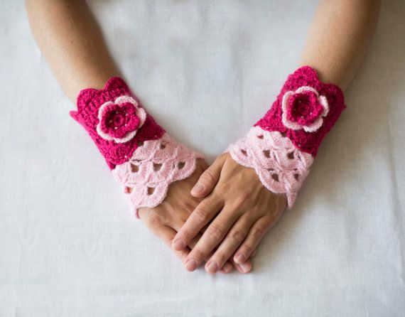 SALE 40  Crochet pink mittens with flowerRomantic by RamuneCrochet, $9.00