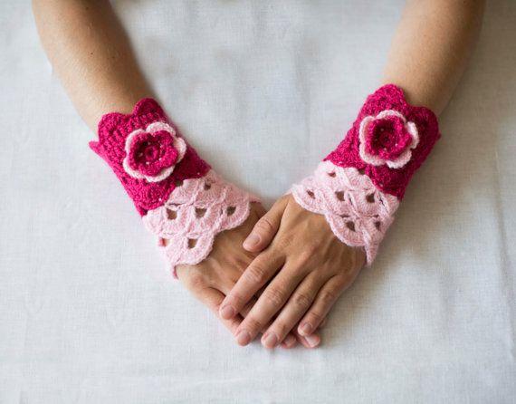 SALE 40  Crochet pink mittens with flowerRomantic by RamuneCrochet, $9.00