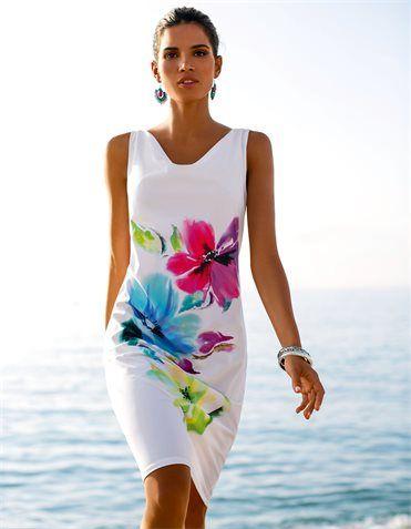 Beach dress bright floral on white