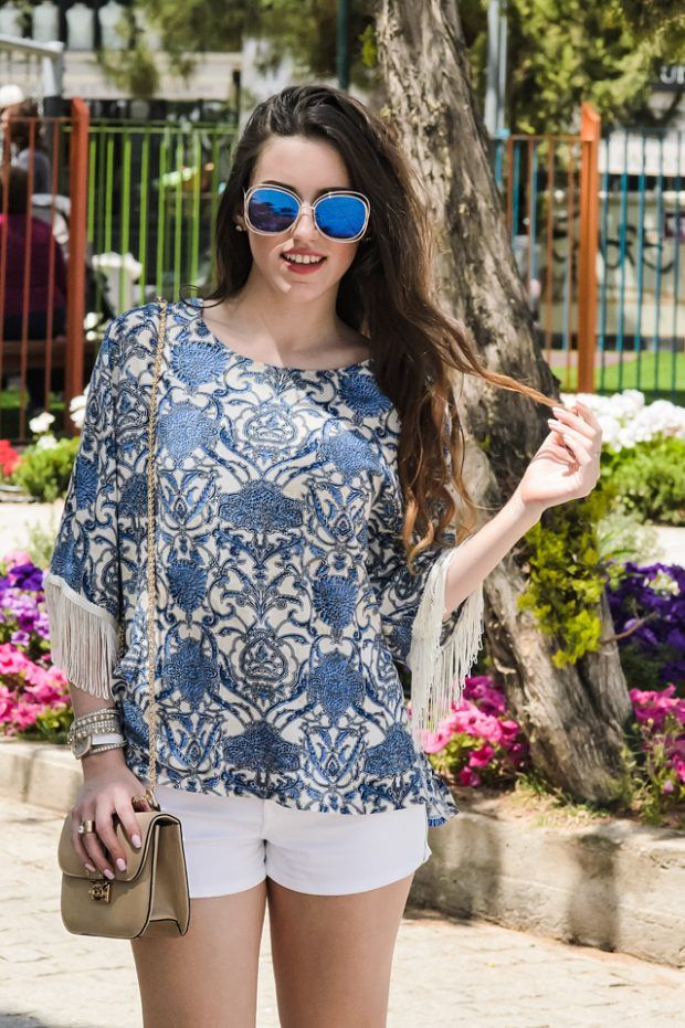 blue shades in this blouse remind us the deep blue of the sea during the summer.... see more on :http://www.aliki-victoria.gr/gr/