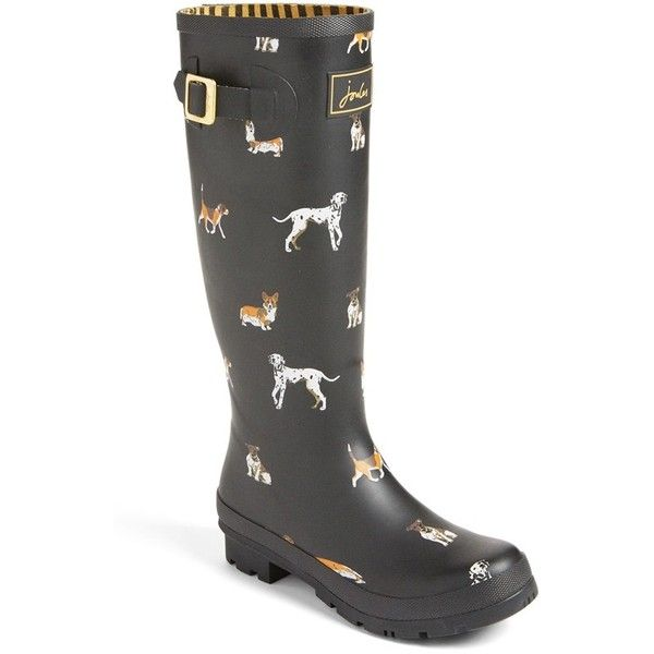 Women's Joules 'Welly' Print Rain Boot ($75) ❤ liked on Polyvore featuring shoes, boots, black dog, wellies boots, buckle boots, rubber boots, knee high rubber boots and dog boots
